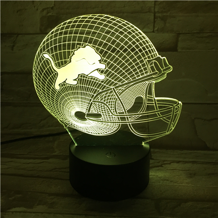 USB table desk Lamp 3D Light LED Detroit Lions Football Cap Helmet 7 color changing touch switch light Home Decoration GX440 led chelsea football club 3d lamp usb 7 color cool glowing base home decoration table lamp children bedroom night lights