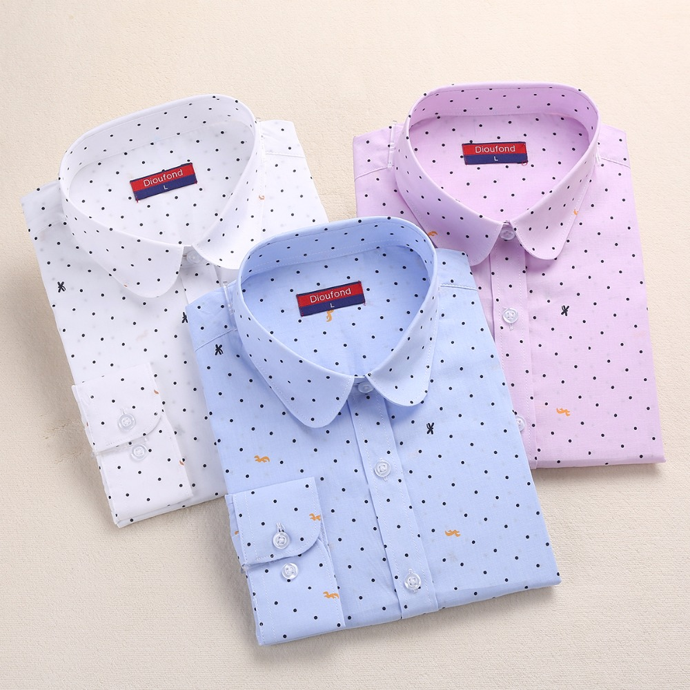 bb2ff776ea6f7 Dioufond Cotton Polka Dot Blouse Small Dots Long Sleeve Women Shirts  Colorful Polka Dot Shirt Women Blouse Shirt Ladies Tops