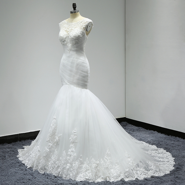 Pleated Mermaid Wedding Dresses Trouwjurk Applique Lace Sexy Back Wedding Dress Bride Gown Vestido Noiva