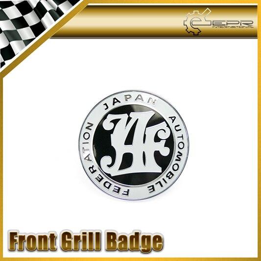 Car-styling Universal JDM JAF Black Front Grill Badge 90MM Diameter Metal Base Plastic