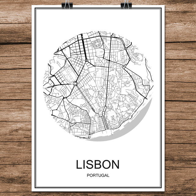 Abstract World City Street Map Las LISBON Portugal Print Poster ...