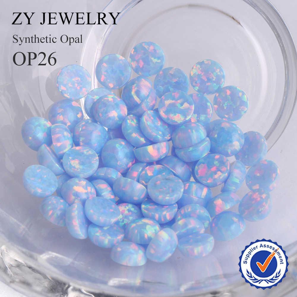 """2.0 ~ 10.0 מ""""מ עגול קרושון שטוח תחתון רופף אור כחול (OP26) סינטטי אופל אבן"""