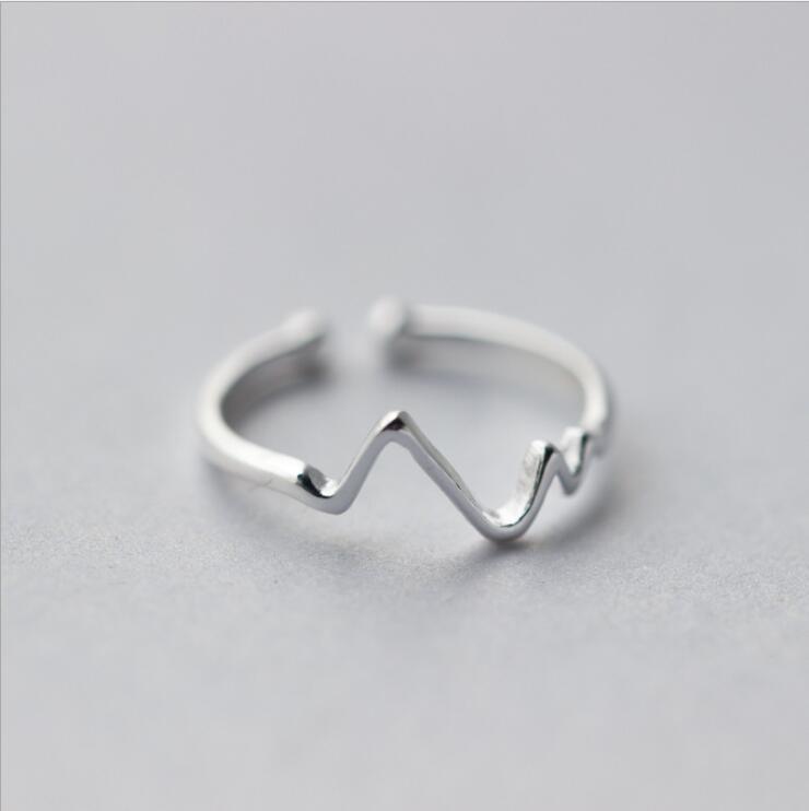 Jisensp ювелирные изделия в стиле минимализма серебряные геометрические кольца для женщин с регулируемой окружностью треугольник сердцебиение кольца на фаланги pour femme - Цвет основного камня: SYJZ006