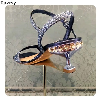 Woman purple sandals twinkling paillette rhinestone decor heel summer Sexy Pumps ankle buckle female wedding party dress shoes