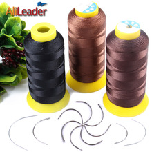 Good 1 Roll Black/Dark Brown/Light Brown Weaving Threads For Machine Weft Hair Extension, Wig Making Tools Curved Sewing Needles