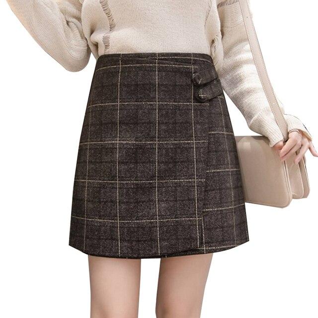 e640ec39b38 Vintage Woolen Plaid Skirts Women 2018 Autumn Winter Irregular Harajuku  Short Skirt Female Slim Mini High