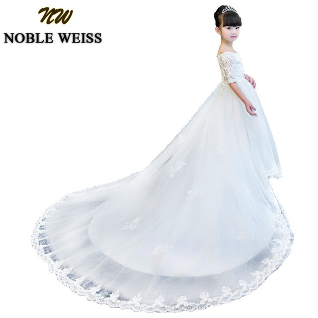 Noble Weiss White Pageant Dresses For Girls Formal Long Train Flower