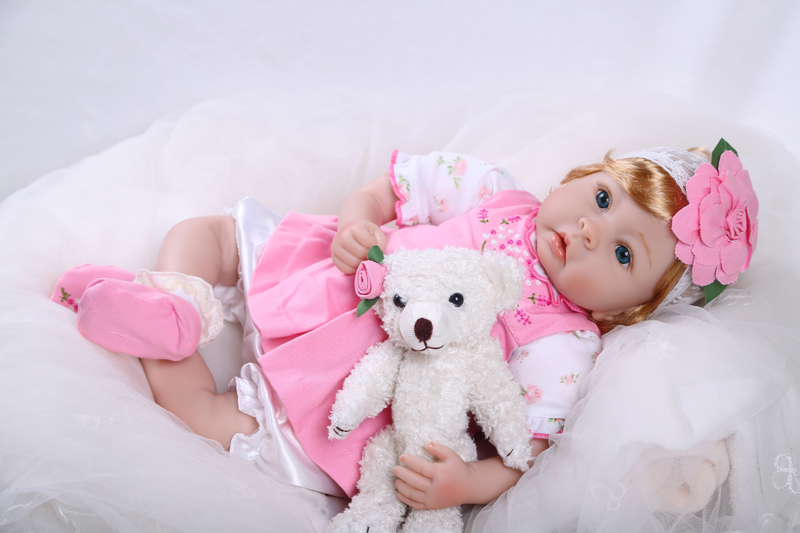 Silicone Reborn Baby Dolls Toy Beautiful Vinyl Doll With Bear Girls Play House Toy Birthday Gift Pink Priencess Collectable Doll