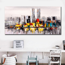 Big Size Canvas hanmade City Building Oil Painting Modular Custom Picture Home Decorate Posteroil painting artwork for bedroom