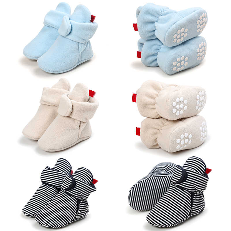 ฤดูหนาวทารกแรกเกิดเดินรองเท้าเด็กอบอุ่นชั้น Booties ลื่น Unisex เด็กวัยหัดเดินรองเท้าเด็กทารก First walkers