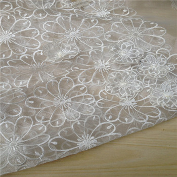 130cm wide 3d three-dimensional flowers  organza embroidery flower hard lace dress clothes fabric