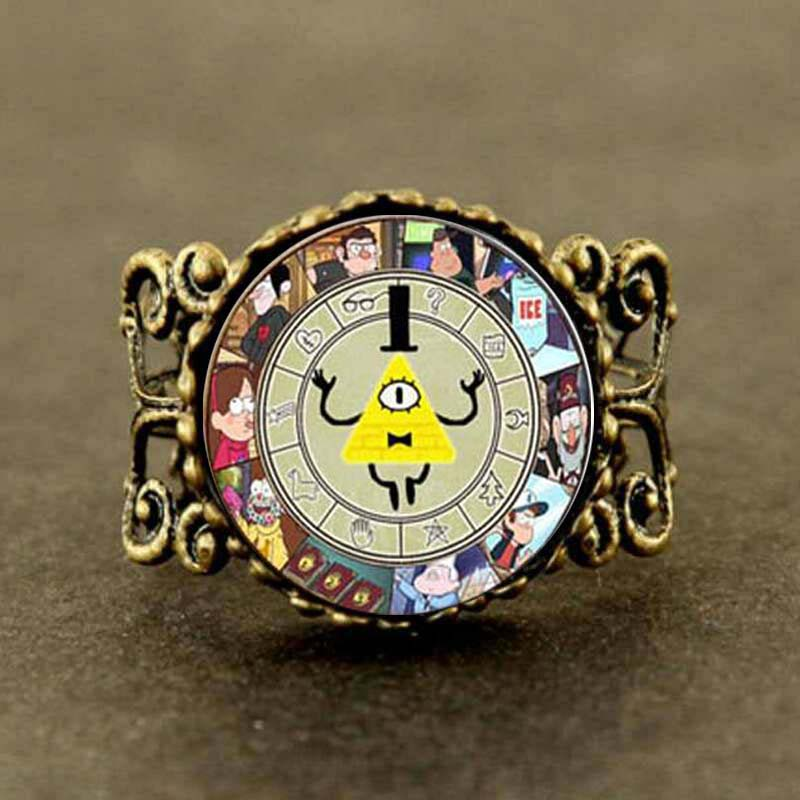 Vintage Steampunk Drama Gravity Falls Mysteries BILL CIPHER WHEEL Ring doctor who 1pcs/lot mens women new 2016