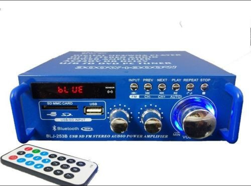 New multifunction Wireless Bluetooth USB SD FM stereo audio MINI power amplifier with Remote control