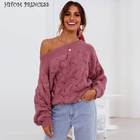 HITOM PRINCESS 2018 Fashion Winter Women Sweaters Cold Shoulder Twisted Knitted Pullover Sweater Sexy Jumper Female Ladies Tops