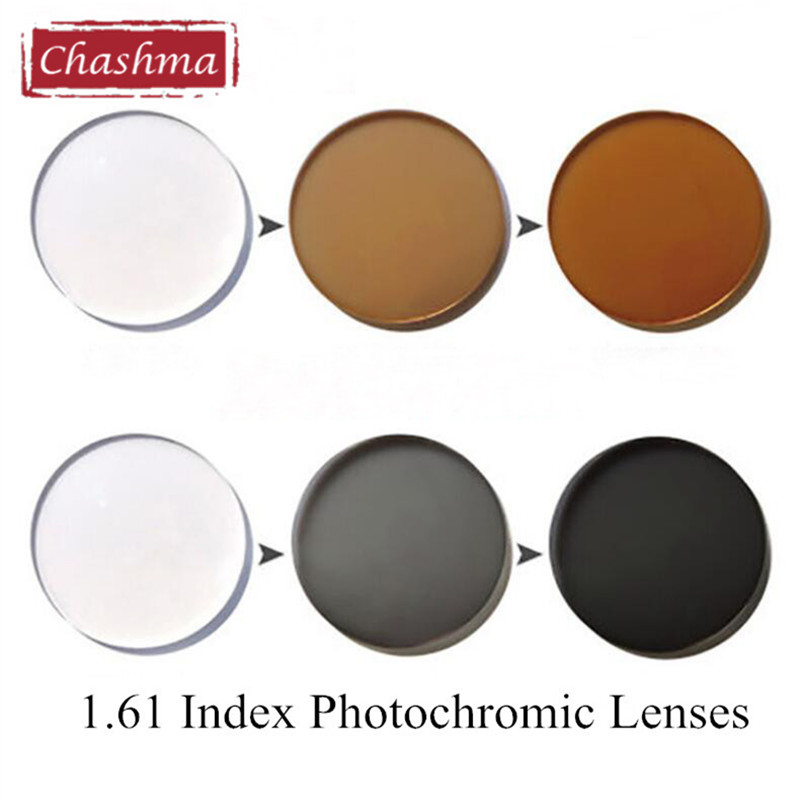 Chashma 1.61 Index Photochromic Glass Glass Anti Reflective UV Anti Scratch Transition Transition Grey and Brown Chameleon Ոսպնյակներ Աչքերի համար