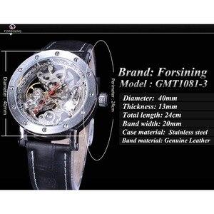 Image 3 - Forsining כסף שלד שעוני יד שחור אדום מצביע שחור אמיתי חגורת עור אוטומטי שעונים לגברים שעון שקוף
