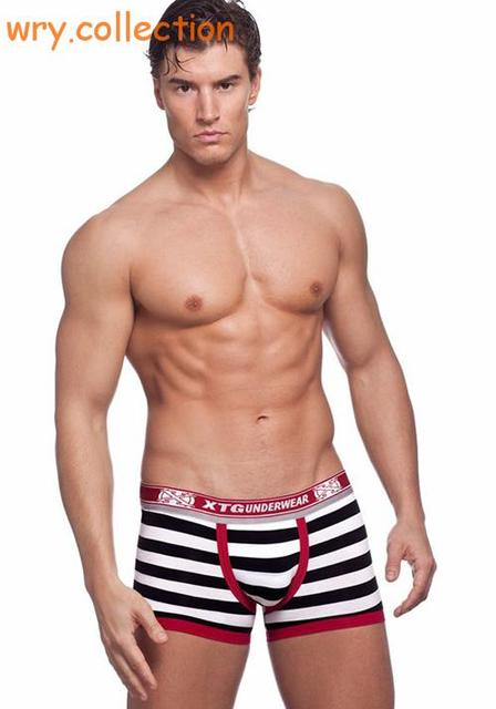 Famous XTG brand !! high quality sexy men boxers hang striped boxers and breathable cotton men underwear free shipping