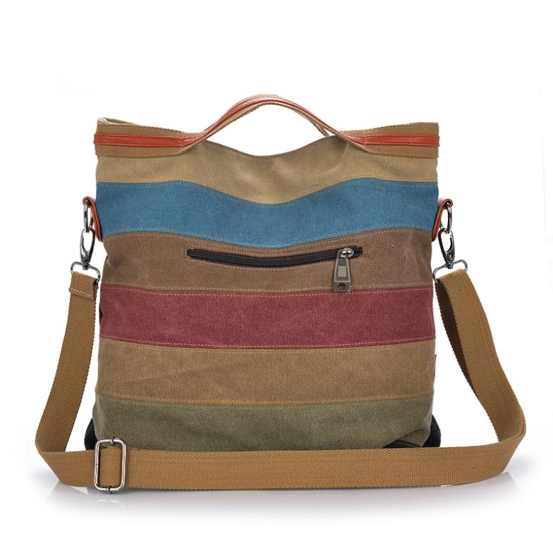 Canvas Striped Women Messenger Bags Female Tote Designer Shoulder Shopping Bags Ladies Crossbody Bags Handbags