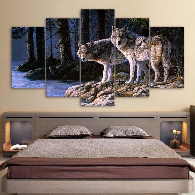Peinture Cadre Art Affiche 5 Panneau Animaux Loups Mur Photo Décoration  Impression Sur Toile Pour Salon