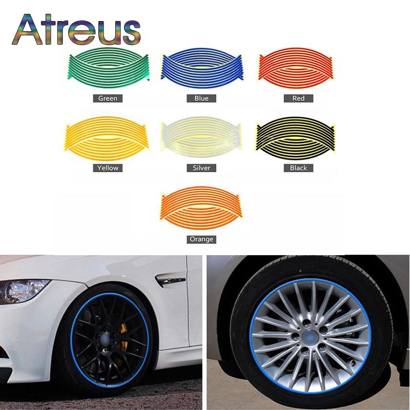 Atreus 16pc Car Wheel Reflective Rim Auto Stickers For Toyota C-HR Corolla RAV4 Subaru Chevrolet Cruze Aveo Saab 9-5 Accessories