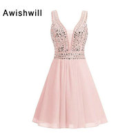66047fef03b0a Custom Made Short Graduation Dress V Neck Beadings Chiffon Pink Homecoming  Dresses For Juniors Party Dress