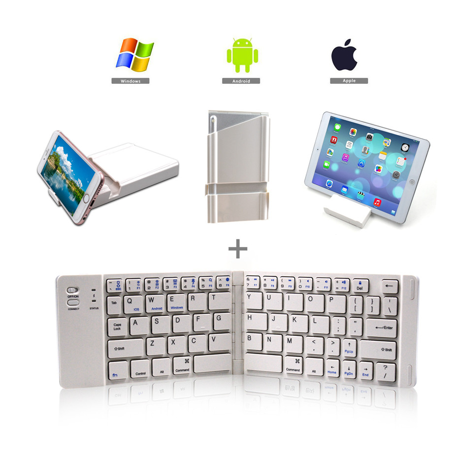 Folding Bluetooth Keyboard Rechargeable Keyboard Mini Slim Keypad With Mobile Holder For Ios Android Windows Tablet Laptop Keyboards Aliexpress