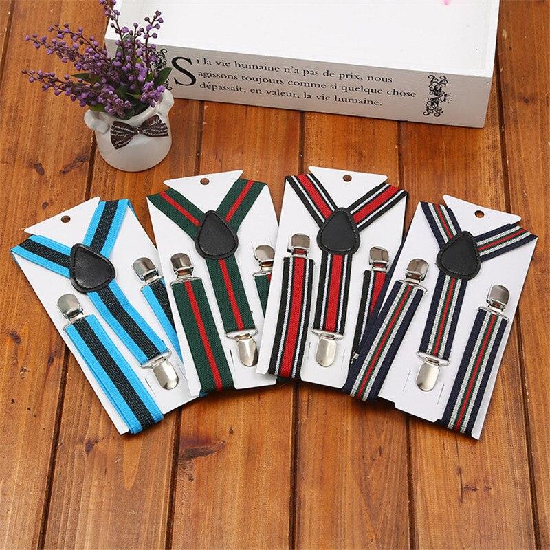 New Children Fashion Stripe Suspenders Baby Boys Suspenders Clip-on Y-Back Braces Elastic Kids Suspenders