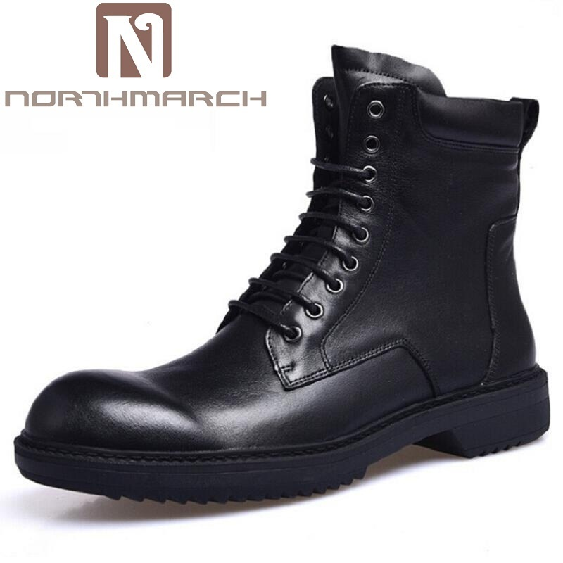 NORTHMARCH Classic Genuine Leather Retro Boots Men High Top Martin Motorcycle Warm Fur Winter Shoes Snow Boots Botas Moto Hombre