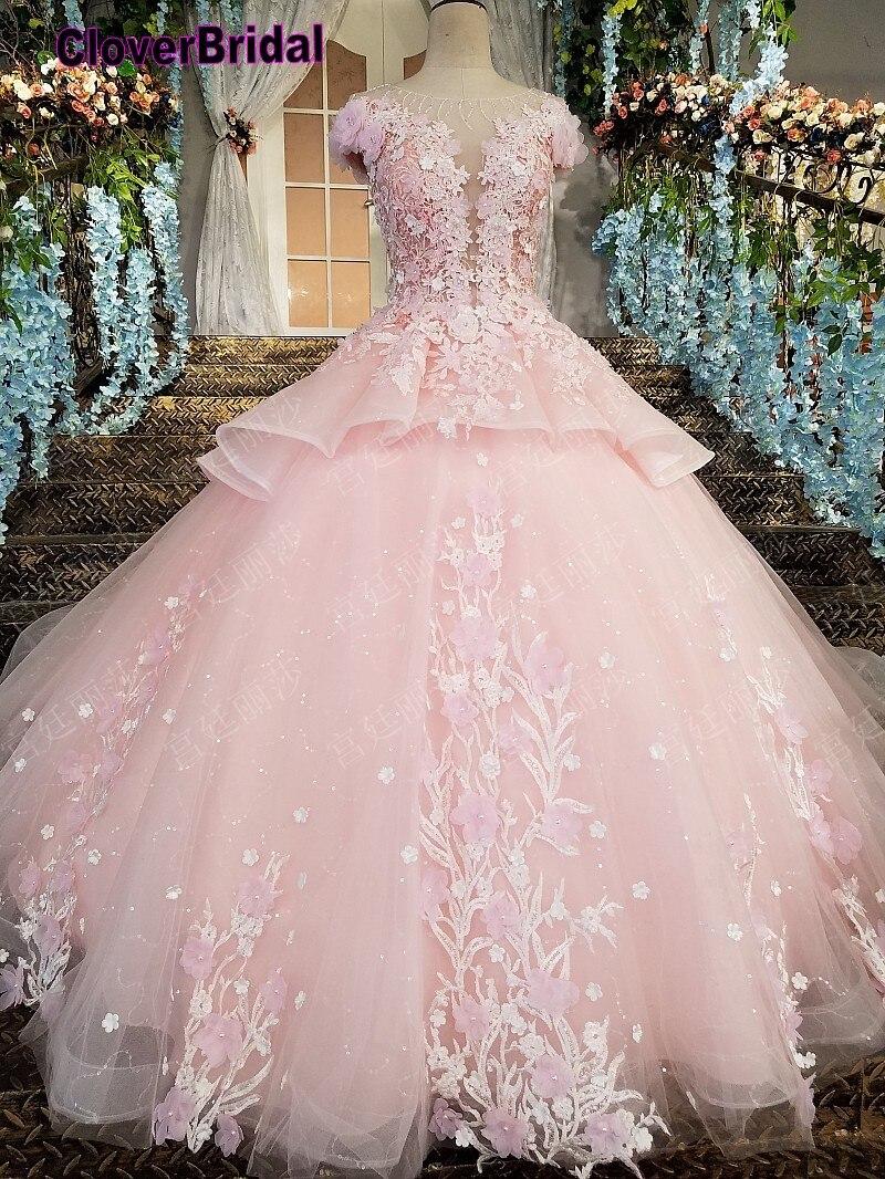 2018 Inexpensive Floor Length Romantic Pearls Pink Flowers Wedding Dress Maternity Bridal Cap Sleeves Stones Chains Back Glitter