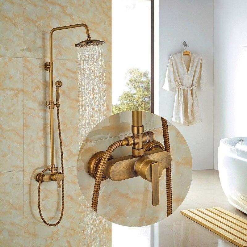 ⓪New Arrival 8-in Shower Set Bath Antique Brass Shower Faucet ...