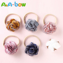 5pcs Chiffon Flowers Nylon Headbands For Baby Girls Summer Beach Wreath Elastic Bands Floral Hairband Kids Hair Accessories