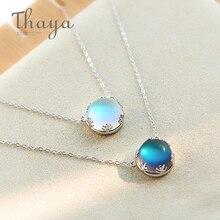Thaya 55cm Aurora kolye kolye Halo kristal taş s925 gümüş ölçekli ışık kolye kadınlar için zarif takı hediye