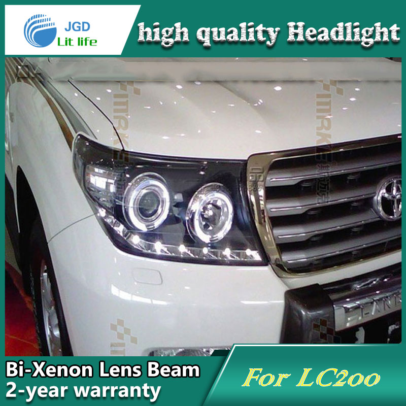 Car Styling Head Lamp case for Toyota LAND CRUISER LC200 Headlights LED Headlight DRL Lens Double Beam Bi-Xenon HID Accessories hireno headlamp for 2003 2009 toyota land cruiser prado headlight assembly led drl angel lens double beam hid xenon 2pcs