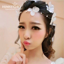 White Handmade Flower Pearls Wedding  Headband Bridal Hair Accessories Headpieces For Women 2pcs/lot