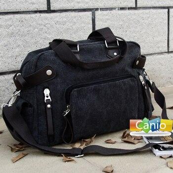 Saco de ombro da lona dos homens novos versão Japonesa e Coreana da tendência de homens de lazer saco retro Messenger portátil bolsa de viagem