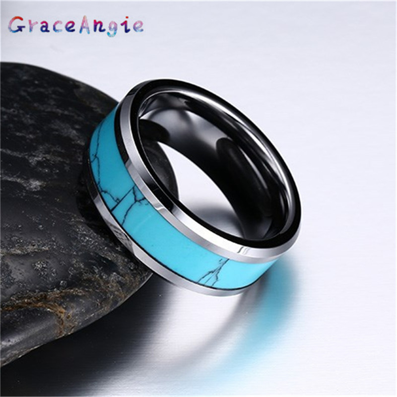 Top Man Blue Tungsten Rings Carbide Mens Ring Wedding ungsten Carbide Rings Women USA Russia Brazil Hot Sales 8MM Blue Beveled