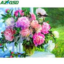 AZQSD Diamond Painting Flowers Cross Stitch Picture Of Rhinestones Mosaic Full Display Embroidery Gift