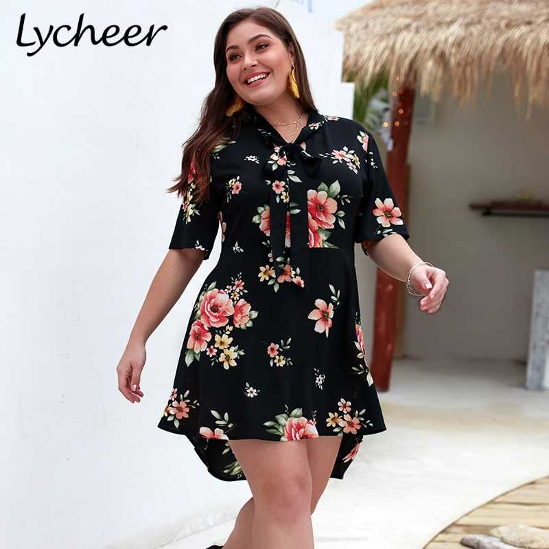 2f62d27fee Lycheer Plus Size Bohemian Floral Print Women Dress Sexy Boho Split ...