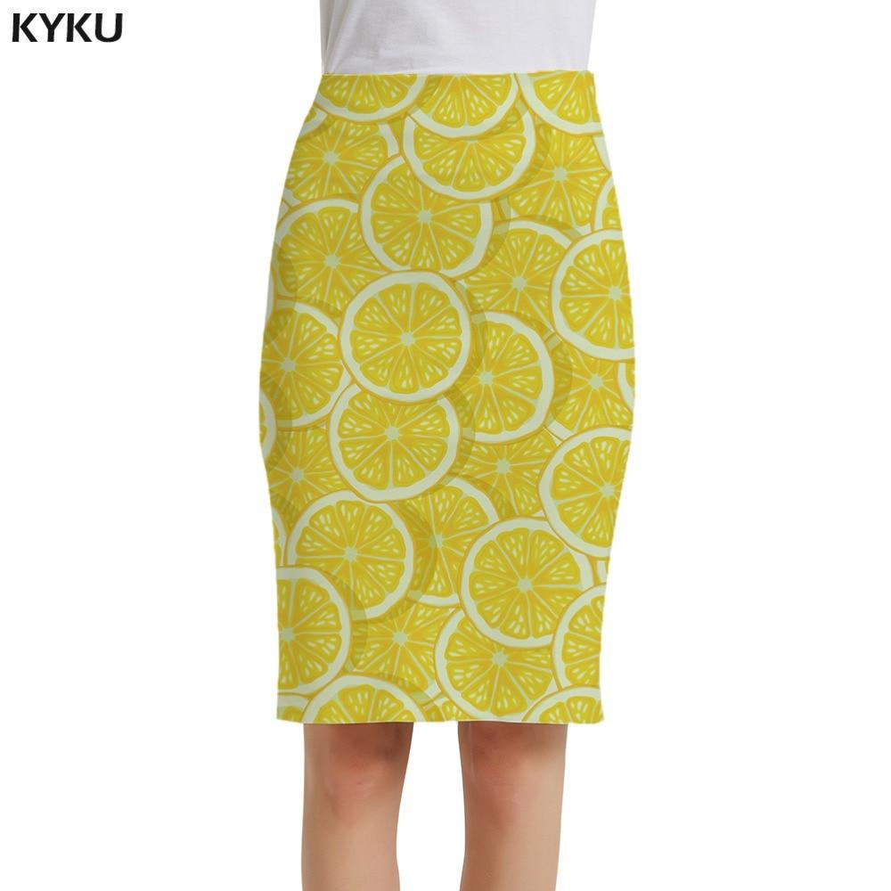 KYKU Brand Lemon Skirts Women Yellow Sundresses Fruit Casual Party 3d Print Skirt Ladies Womens Knitted Anime New