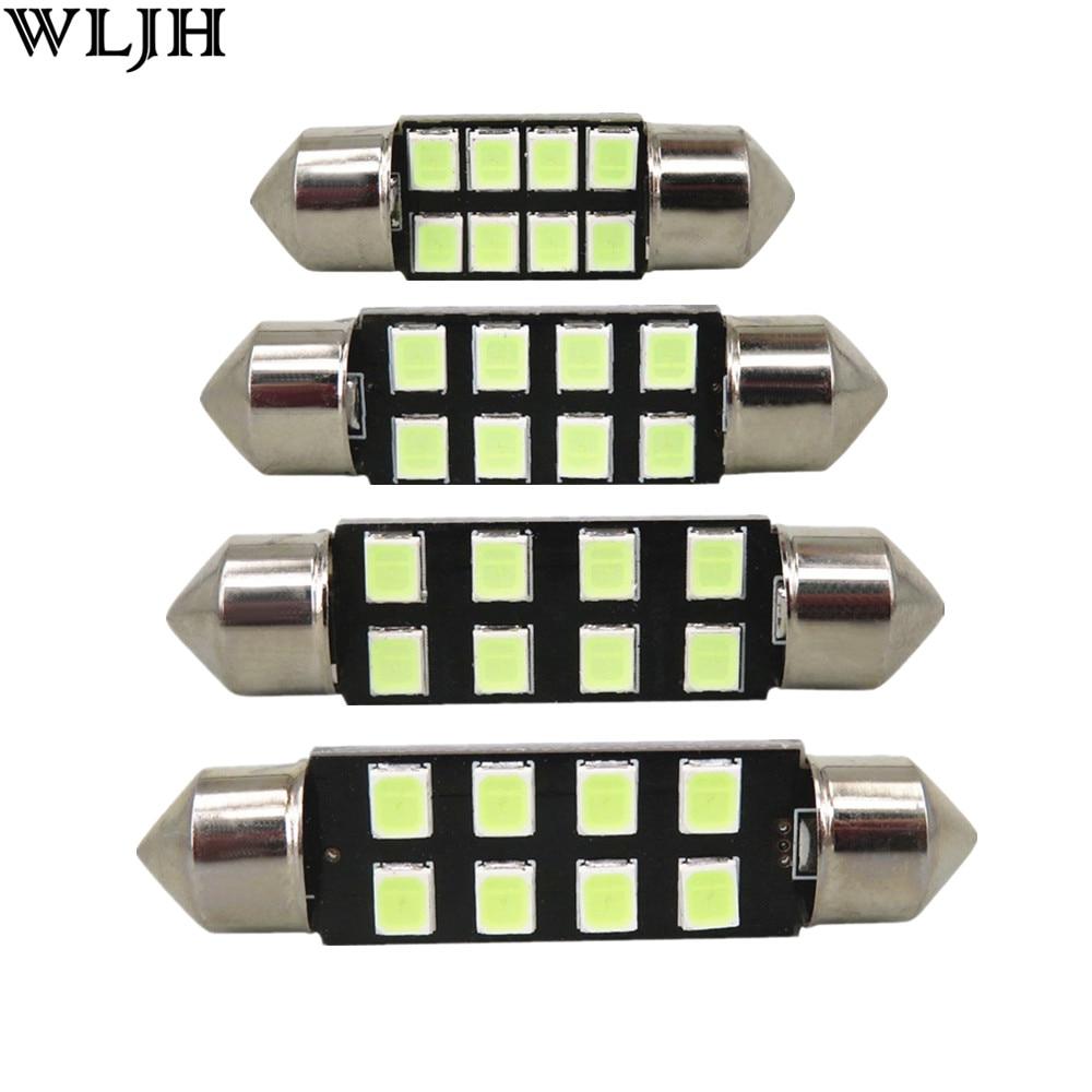 WLJH 6pcs Car Led Light 31mm 36mm 39mm 41mm 2835 SMD C5W C10W Auto Lamp  Bulb Interior Lights External Lights Pure White Ice Blue
