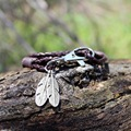 Feather Keychain Vintage Punk Leather Jewelry Multilayer Woven Bracelet