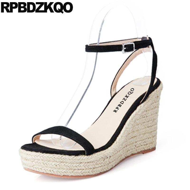 Blue Ankle Strap Open Toe Rope Pumps Slingback Espadrilles Black Designer Women Shoes Platform Wedge Sandals Summer High Heels