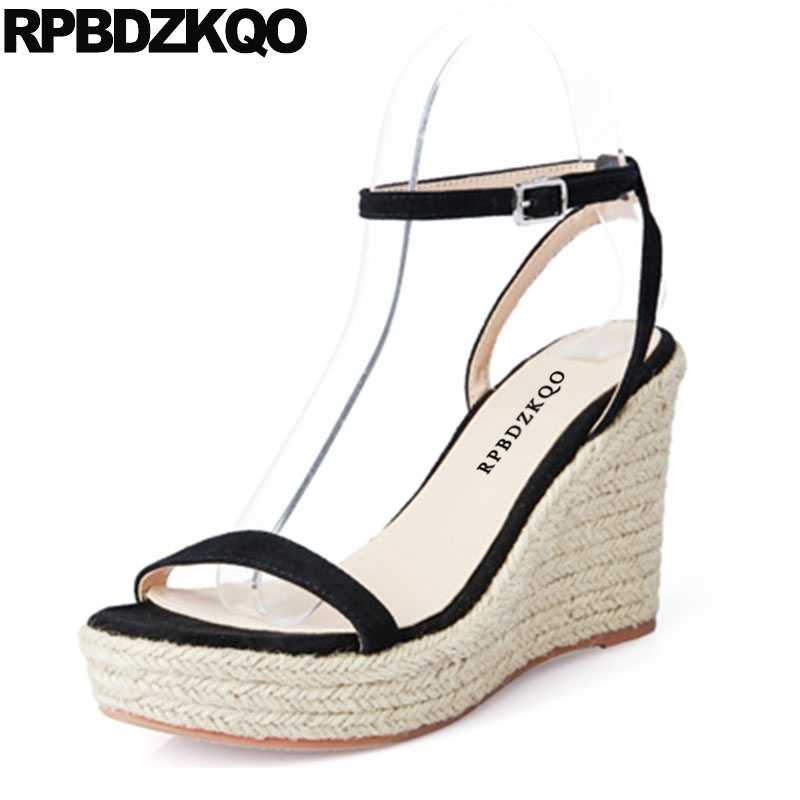 457a9dbd773 Blue Ankle Strap Open Toe Rope Pumps Slingback Espadrilles Black Designer  Women Shoes Platform Wedge Sandals Summer High Heels