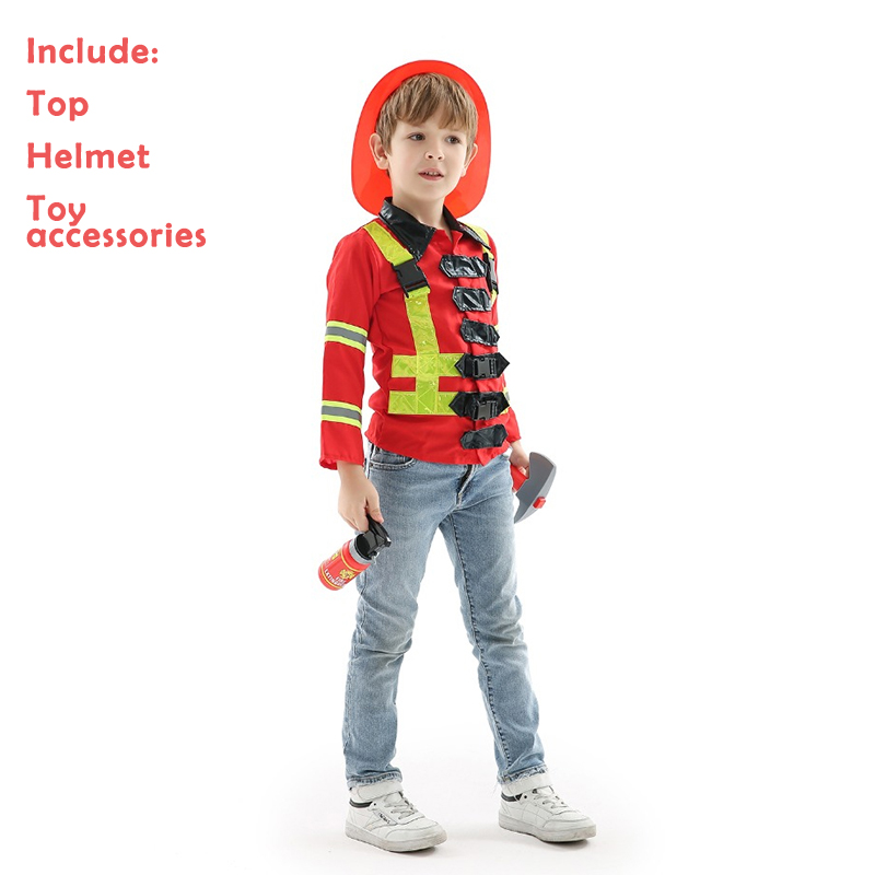 Costume Kids Cosplay Firefighter Uniform for Boy Child Halloween , Theme Carnival Party As Gift For Boys