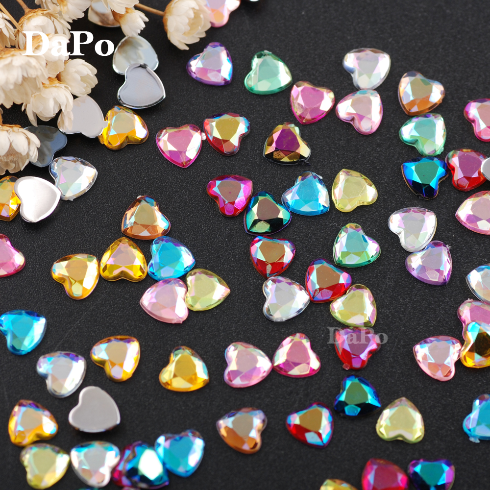 50//SHT 6mm Red LQ17 Stick On Heart Gems For Cards And Invitations