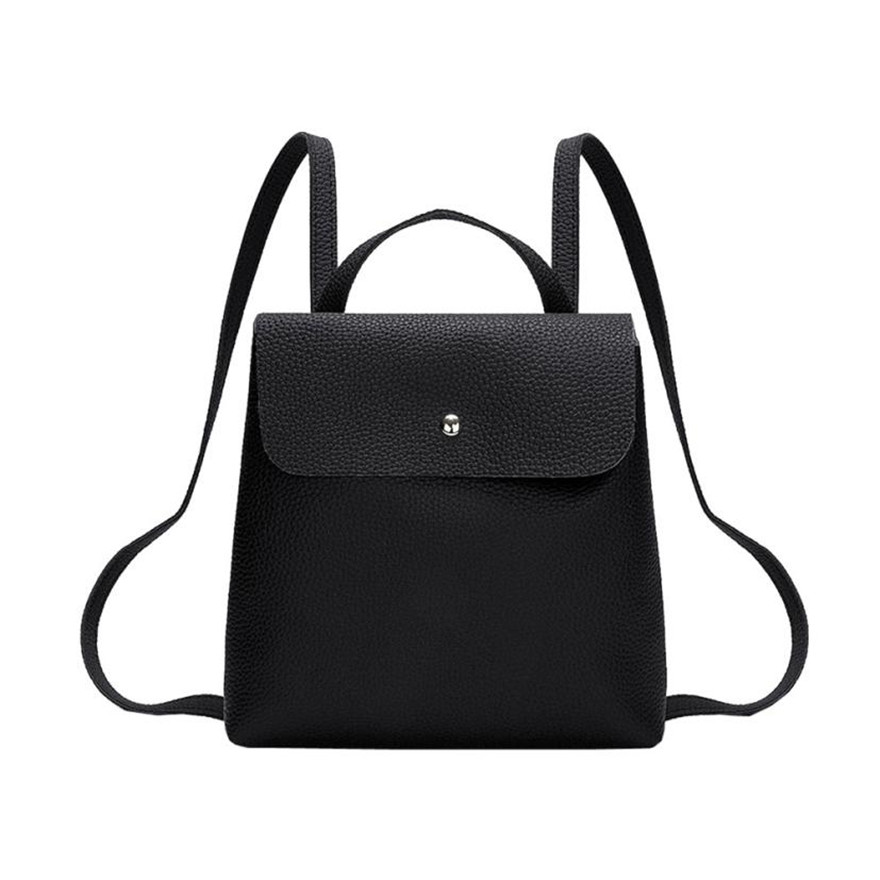 MOLAVE Backpack Girls Backpack Solid Backpacks Female Hasp Fashion Women Girl Leather Mini School Bag Shoulder Bag Jun15
