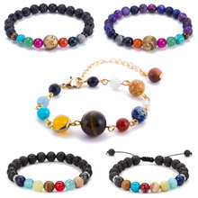 Fashion Natural Stone Bracelet 2019 for men Star Universe Planets Galaxy Trendy Bead chain male Jewelry Gift Wholesale
