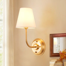 American Pure Copper Vintage E14 Wall Lamp Fabric Cloth Shade Wall Sconce Light Bedside Light Home Bedroom Stairs Porch Hotel(China)