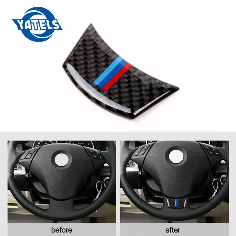Carbon Fiber Steering Wheel Sticker M <font><b>stripe</b></font> Emblem 3D <font><b>Car</b></font> Sticker For <font><b>bmw</b></font> F10 F01 F07 5 series 7 series <font><b>Car</b></font> Styling Accessories image