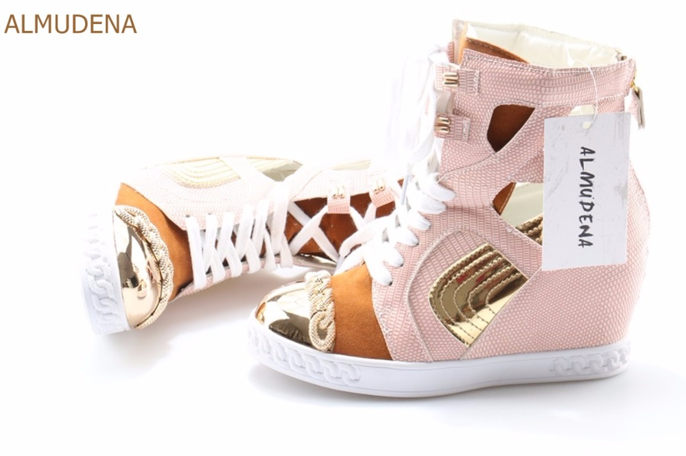 Hauteur Patchwork Wedge Or Chaîne Casual Loisirs Chic As Chaussures Marque Picture Picture Sneakers Talons Almudena Femmes Croissante as Top Chaussons wqX0cOxS